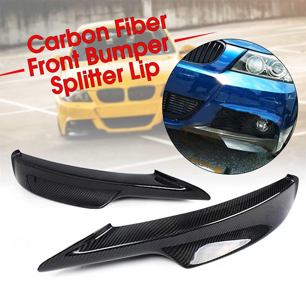 EIN Paar Real Carbon Fiber Car Front Stoßstange Splitter Lip Für BMW E90/E91 3 Serie 4 Dr Sedan mit M-Tech Stoßstange 2009-2011