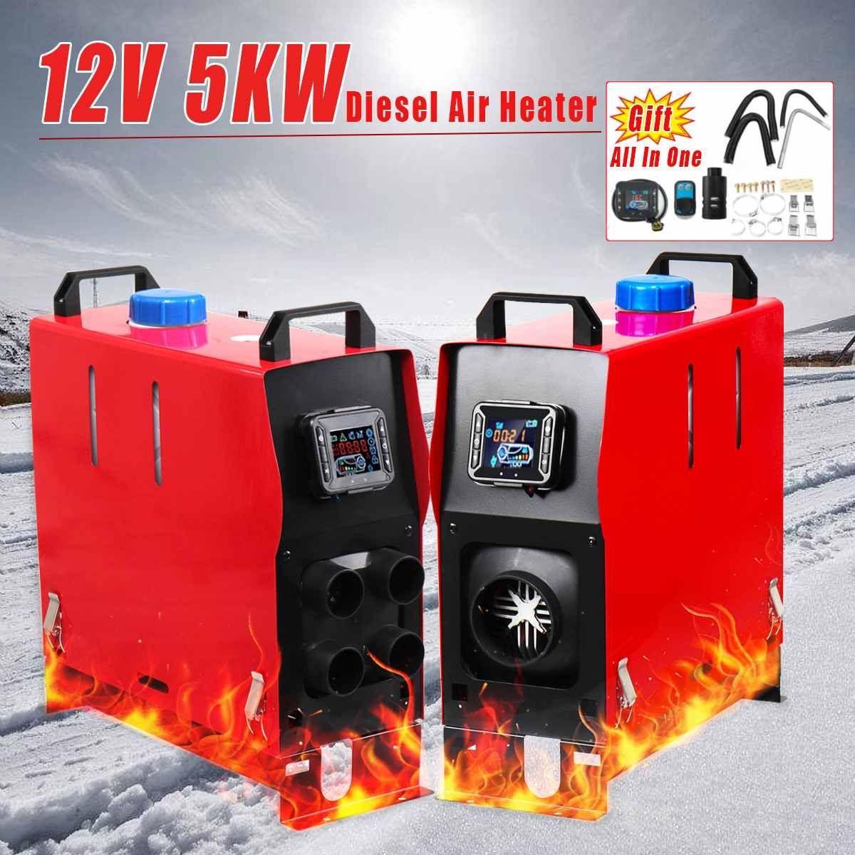Mit Fernbedienung Monitor 12 V 5KW Alle In 1 LCD 1/4 Löcher Diesel-Luft Heizung PLANAREN Für Auto lkw Anhänger Geräuscharm Automatische