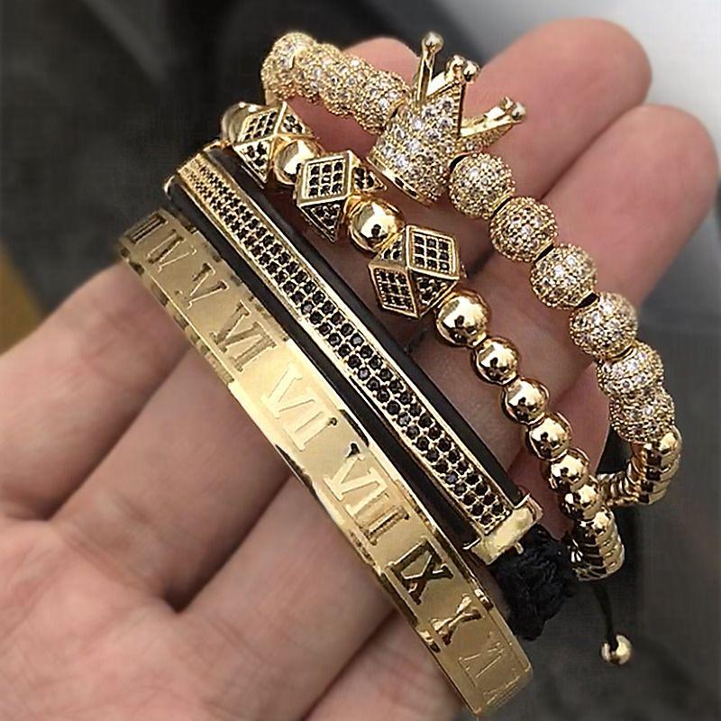 Hot Sale Classical Handmade Braiding Bracelet Gold Hip Hop Men Pave CZ Zircon Crown Roman Numeral Bracelet Luxury Jewelry