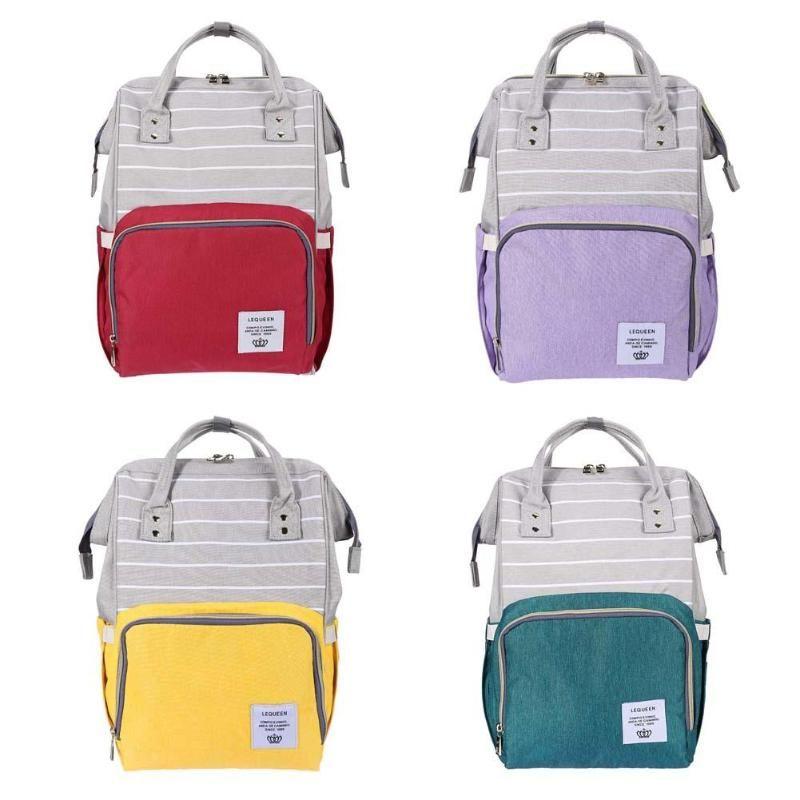 LEQUEEN maman maternité Nappy sac 38 Styles grands sacs mode momie maternité couches sacs grande capacité rayure voyage sac à dos