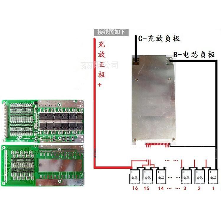 16 s 48 v 45A Lithium-eisen phosphat Batterie Schutz BMS PCB Board für LiFePO4 Zelle mit Balance 3,2 v * 16