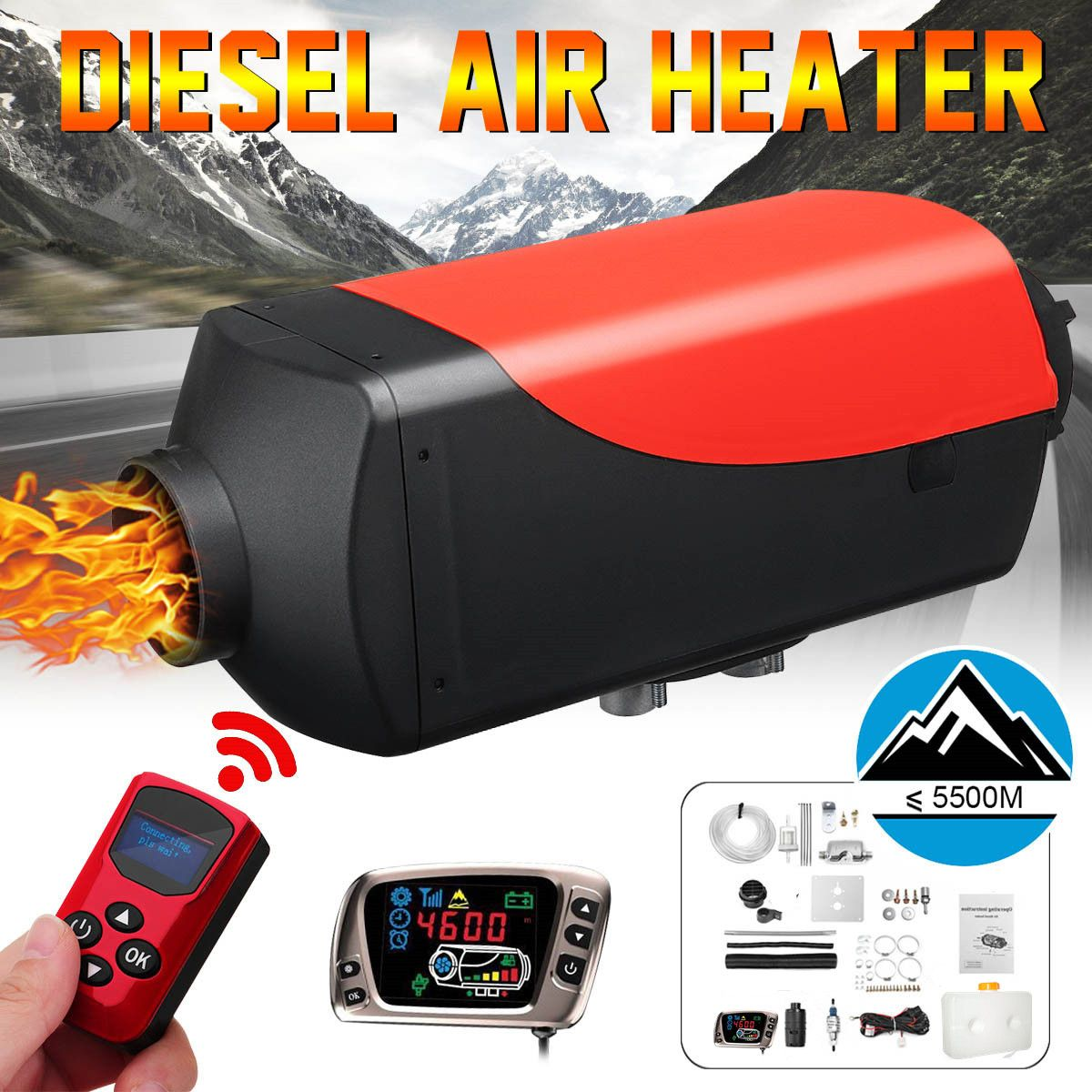 12 V 2kw Diesel Air Standheizung Air Heizung LCD Schalter mit Schalldämpfer und Fernbedienung Für Lkw Boote Auto anhänger Heizung