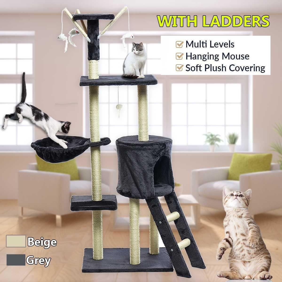 Katze Klettergerüst Grau Beige Katze Kratzen Post Baum Scratcher Pol Möbel Turnhalle Haus Spielzeug Katze Springen Plattform 50*35*140 cm