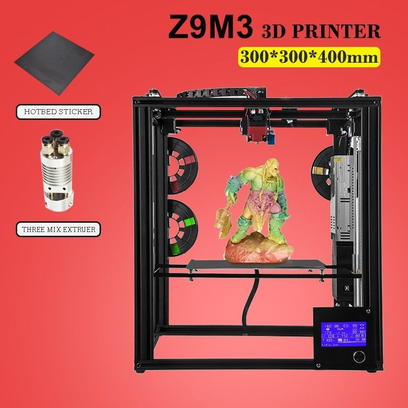 ZONESTAR Hot Sell Two Three Extruder Mix Color Large Size Pre-assembled 3D Printer DIY Kit Auto Level Optional Laser Engraving