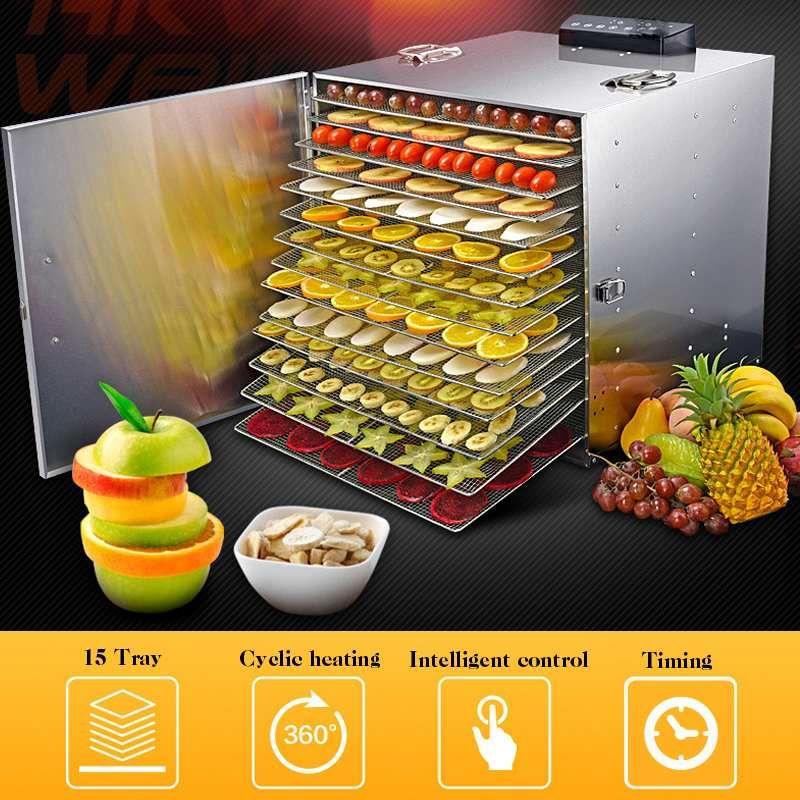 Warmtoo 220 V 1000 W Professionelle 15 Fach Elektrische Dörr Edelstahl Lebensmittel Obst Fleisch Trockner Gemüse Dörr