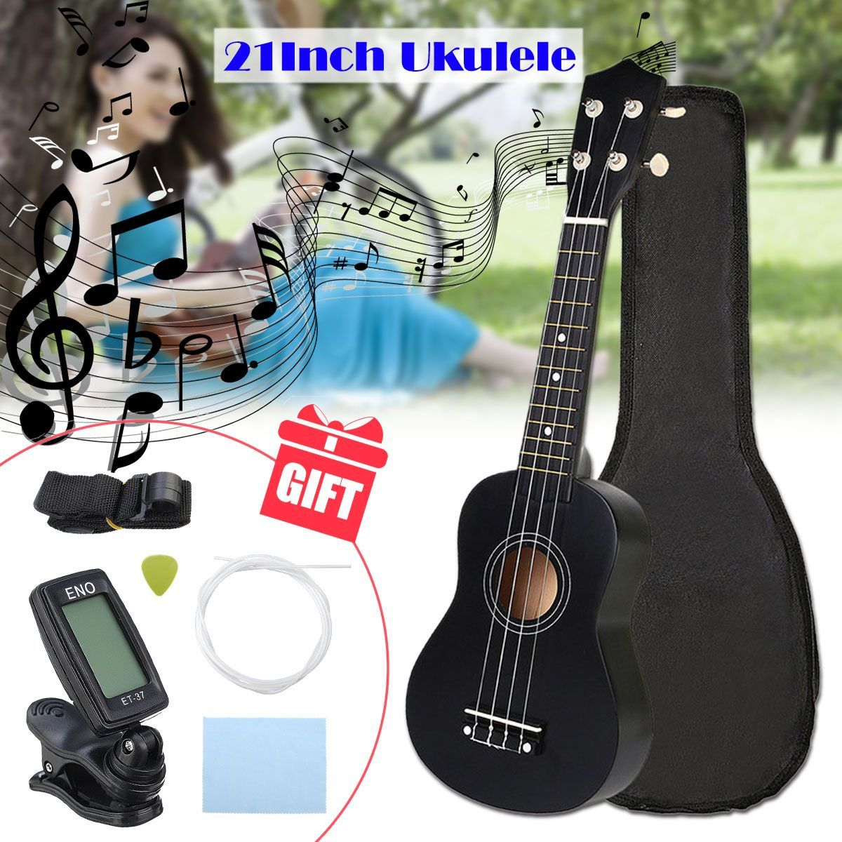 Zebra 21 inch Ukelele Soprano 4 Strings Hawaiian Spruce Basswood Guitar Musical Instrument Set Kits+Tuner+String+Strap+Bag