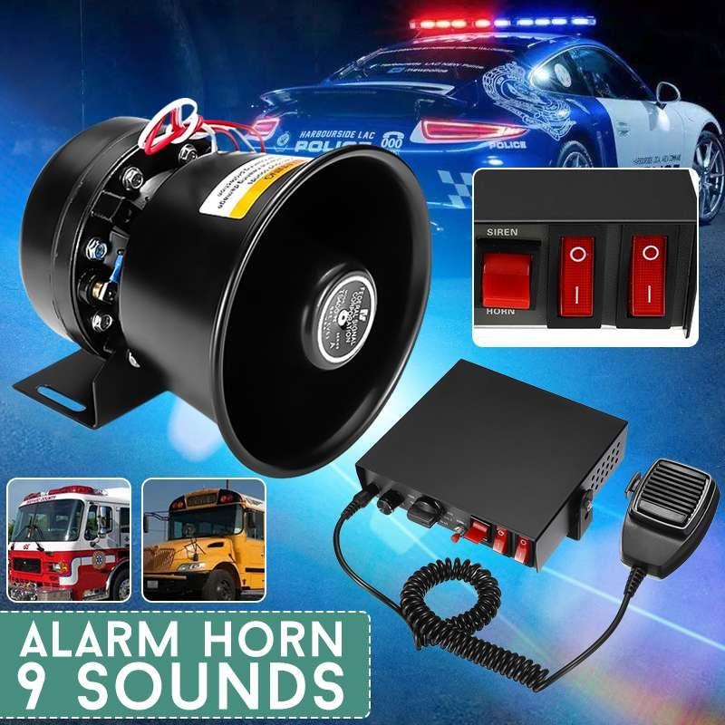 150dB 9 tones 400W Steel Alarm Horn Loud Car Polices Siren + Mic PA Speaker Warning/Recording Electronic Bell Volume Adjustable