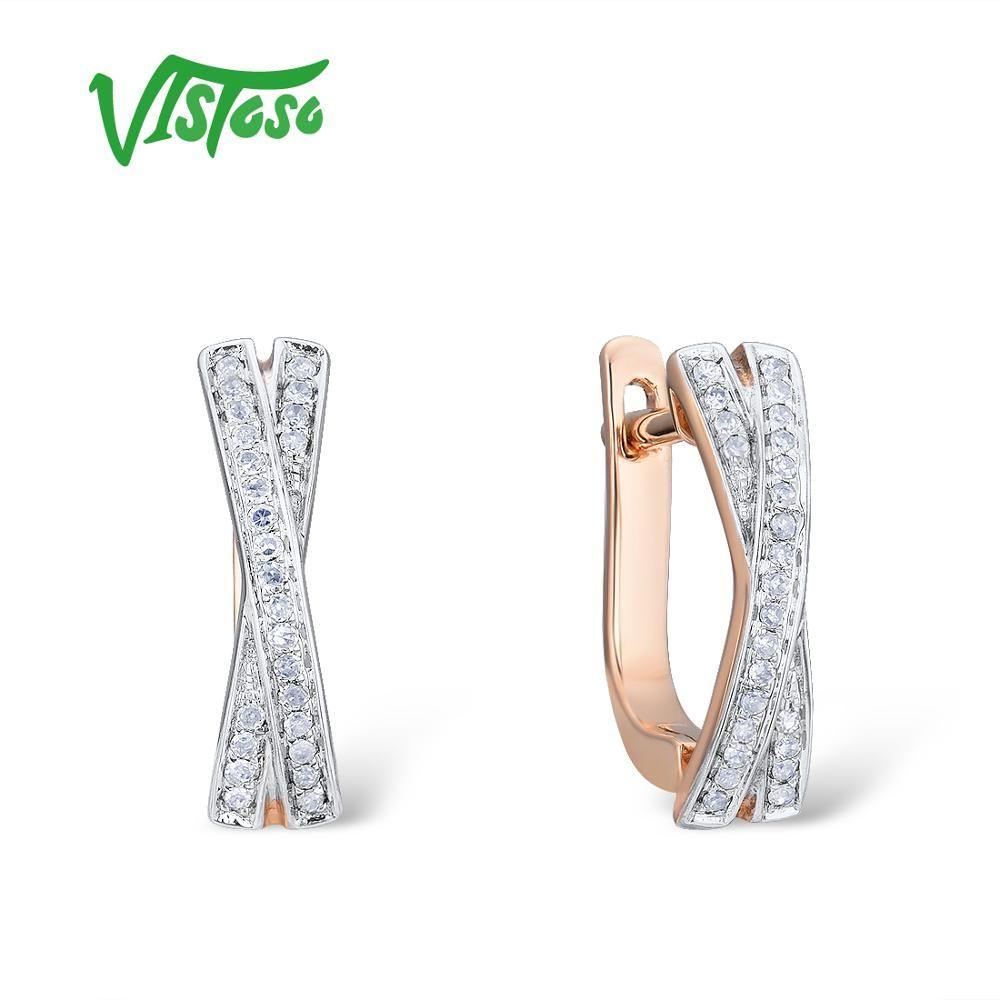 VISTOSO Gold Ohrringe Für Frauen Echte 14K 585 Rose Gold Funkelnden Diamant Exquisite Jahrestag Hochzeit Band Edlen Schmuck