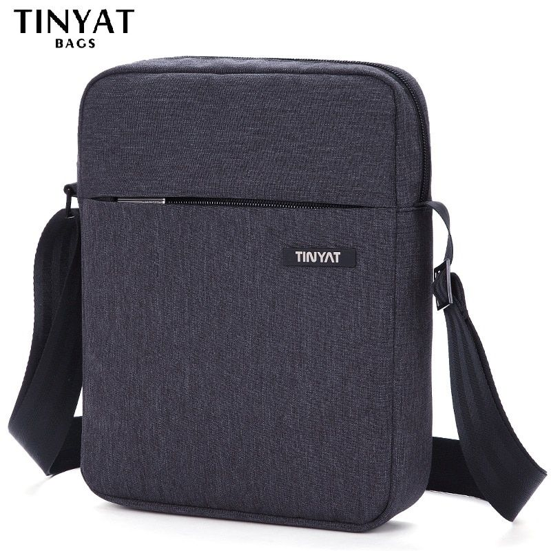 TINYAT Brand Men's Crossbody Bag <font><b>Pack</b></font> Anti-Theft Men Bag Shockproof Male Messenger Bags Pad 9.7' Canvas Leather Shoulder Handbag