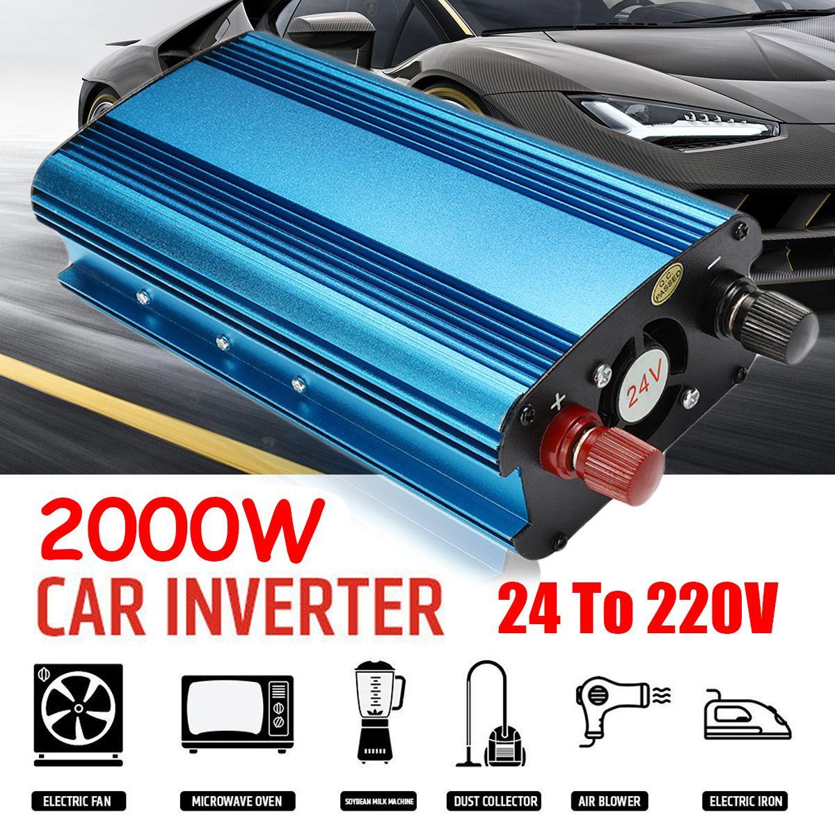 Voltage Transformer Peak 2000W/1000W DC 12/24V to AC 220V Car LED Solar Power Inverter Sine Wave USB Converter Overload Protec