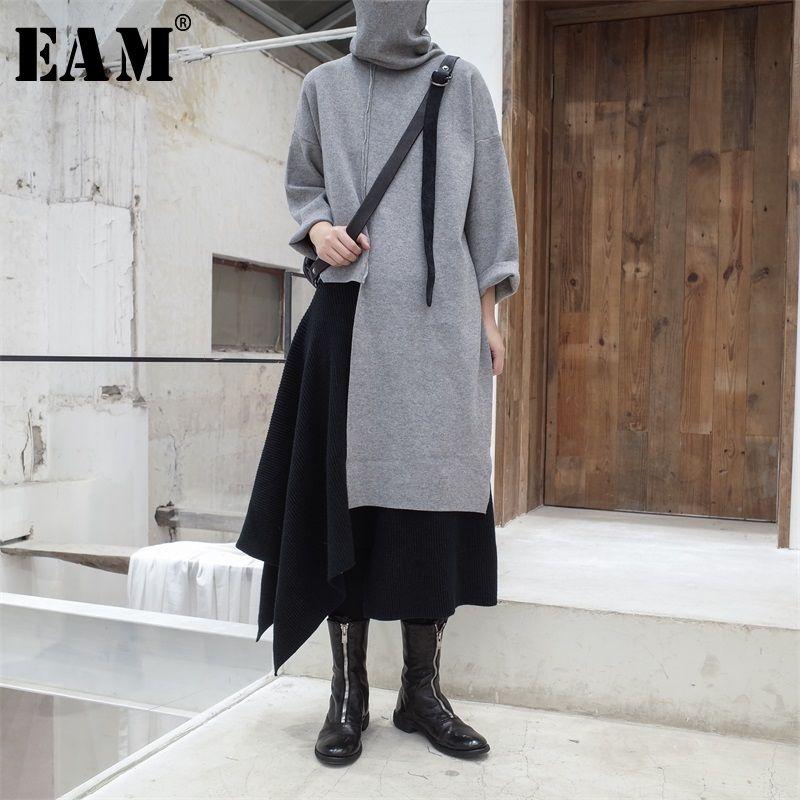 [EAM] 2019 Neue Herbst Winter Hohe Kragen Langarm Schwarz Unregelmäßigen Stich Große Größe Lange Stricken Pullover Frauen mode JL734