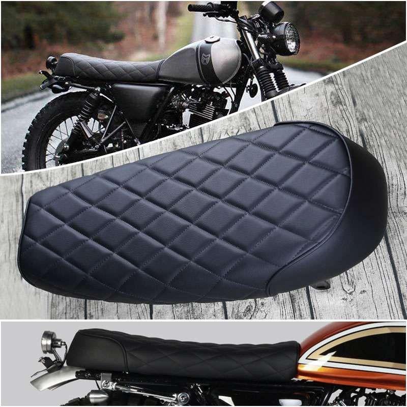 Mayitr 1pc Motorcycle Vintage Flat Brat Styling Saddle High Quality Retro Scramble Cafe Racer Seat ABS PU Leatherette