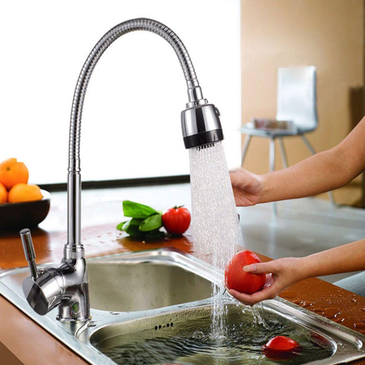 Cuisine 360 degrés rotatif bec unique poignée évier bassin robinet réglable en laiton massif tirer vers le bas mélangeur de pulvérisation robinet monté sur le pont