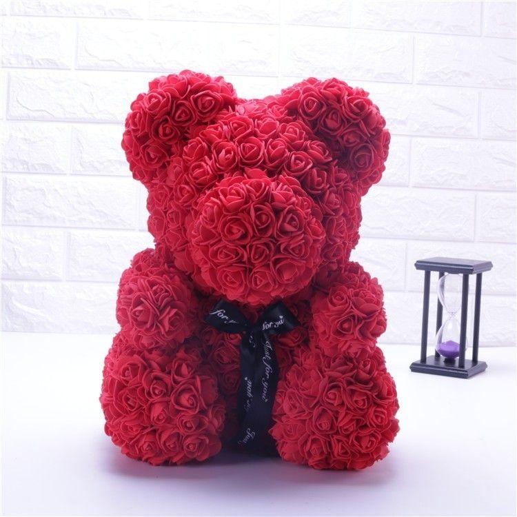 Cadeau saint valentin chaud 25 cm Rose rouge ours en peluche Rose fleur artificielle décoration cadeaux de noël femmes cadeau saint valentin