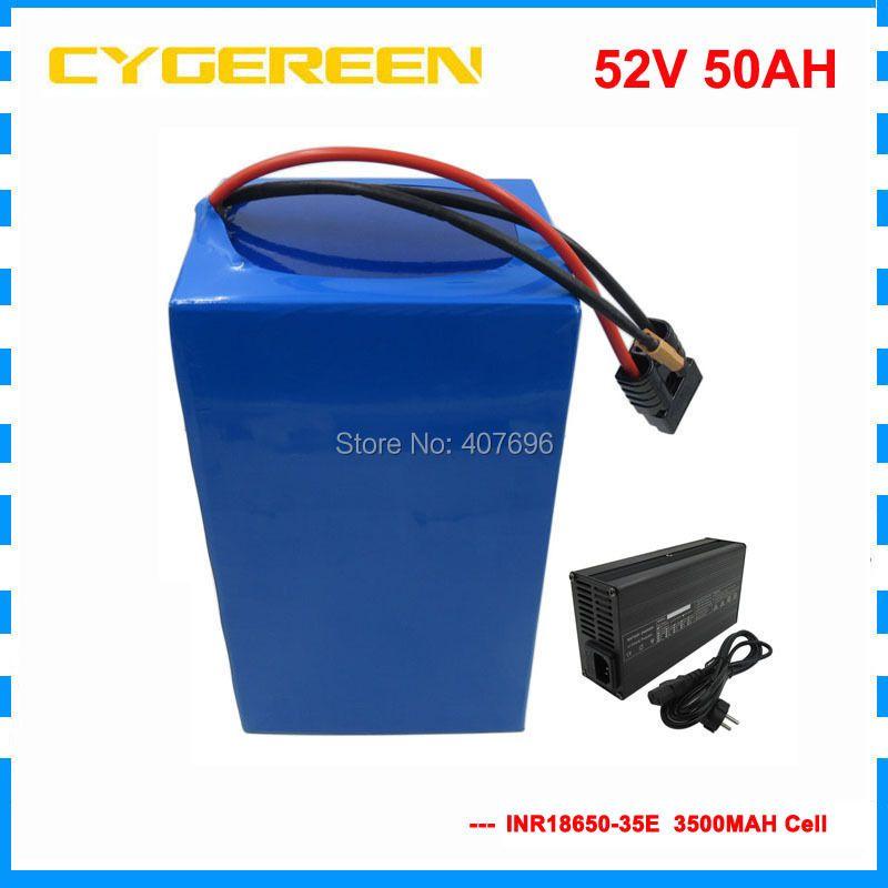 3500 W 52 V 50AH Elektrische fahrrad akku 51,8 V Lithium-batterie verwenden samsung 3500 mah zelle 70A BMS mit 58,8 V 5A Ladegerät