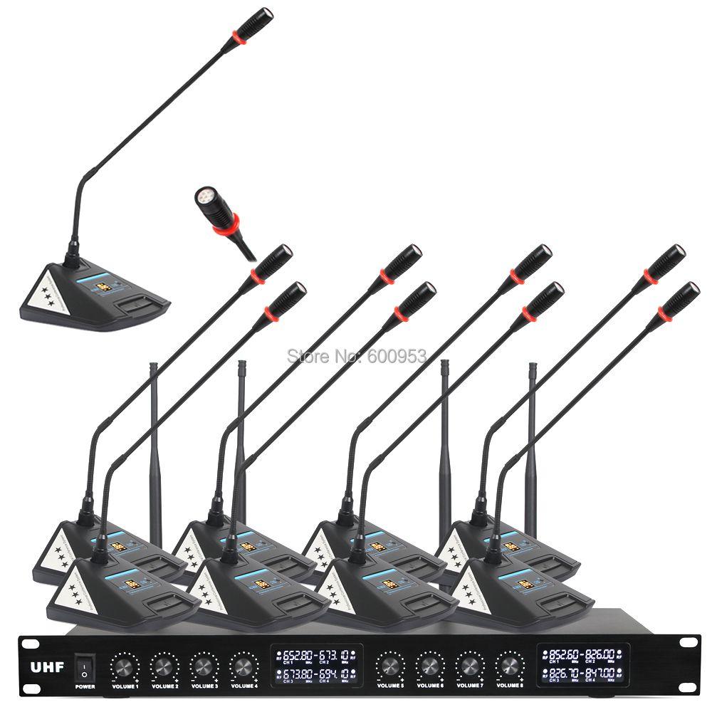 MiCWL Audio Neue upgrade 8 Schreibtisch Drahtlose Digitale Konferenz Tagungsraum Mikrofon System 8 Tabelle Mic Einheit V800