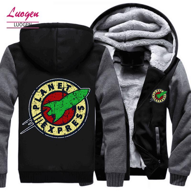 Drop shipping USA Size Adult Men Women Planet Express Thicken Hoodie Zipper Coat Winter Fleece Warm Hooded Jackets Free shipping