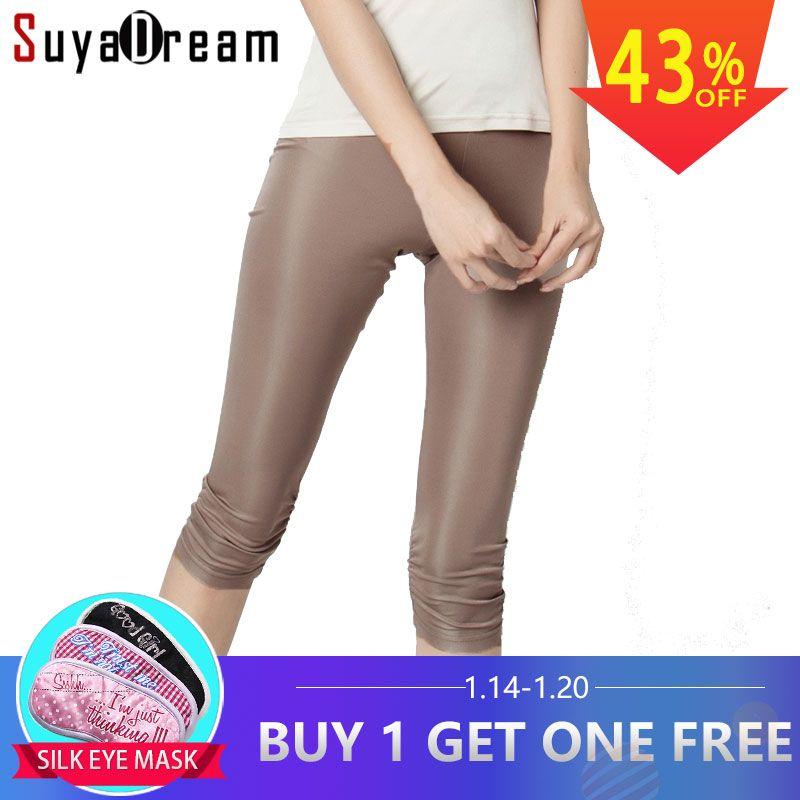 Femmes Leggings 100% Réel Soie 3/4 longueur pantalon mince leggings Plus La taille Anti vidé basant le pantalon lumière couleurs Noir Blanc