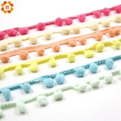 5Yards/Lot  Hot Sale 10MM Pom Pom Trim Ball Fringe Ribbon DIY Sewing Accessory Lace 17 Colors  For Home Party  Decoration