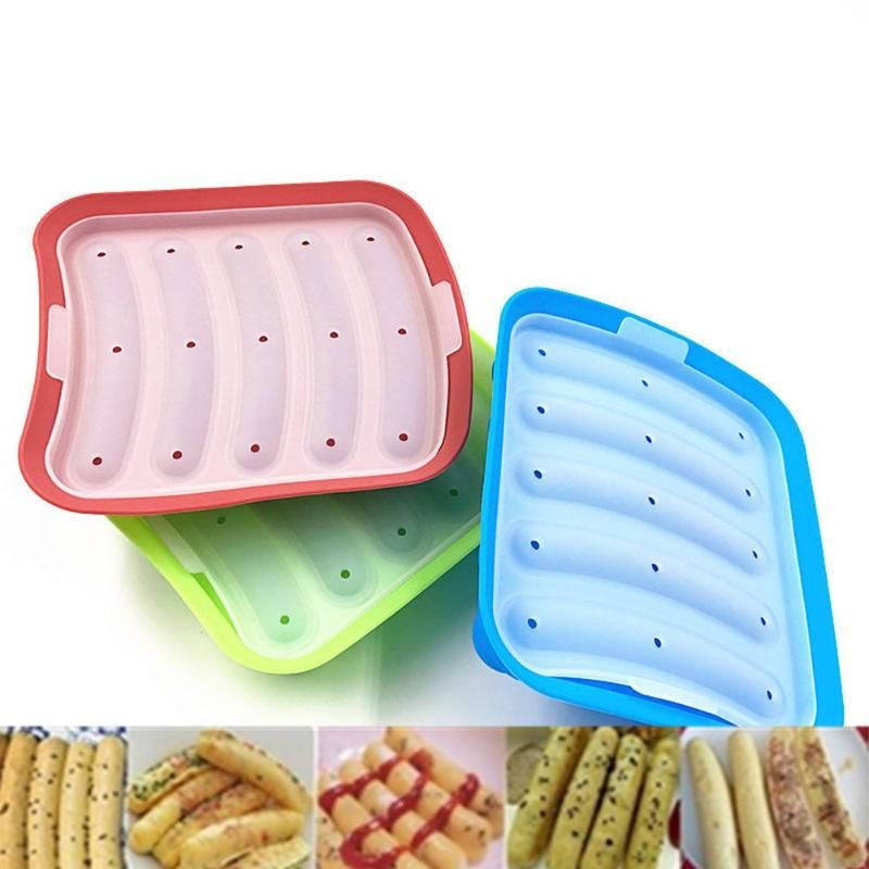 Silicone Ham Hot Dog Burger Make Mould DIY Sausage Making Mould Baby Food Supplement Baking Tools Kitchen Props With 5 Grid