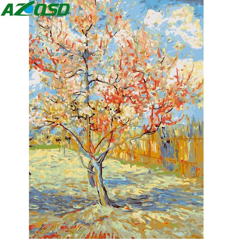 AZQSD bricolage peinture à l'huile moderne fleur de pêche peinture par numéros peinture à la main toile photo décoration de la maison fleur arbre mur Art