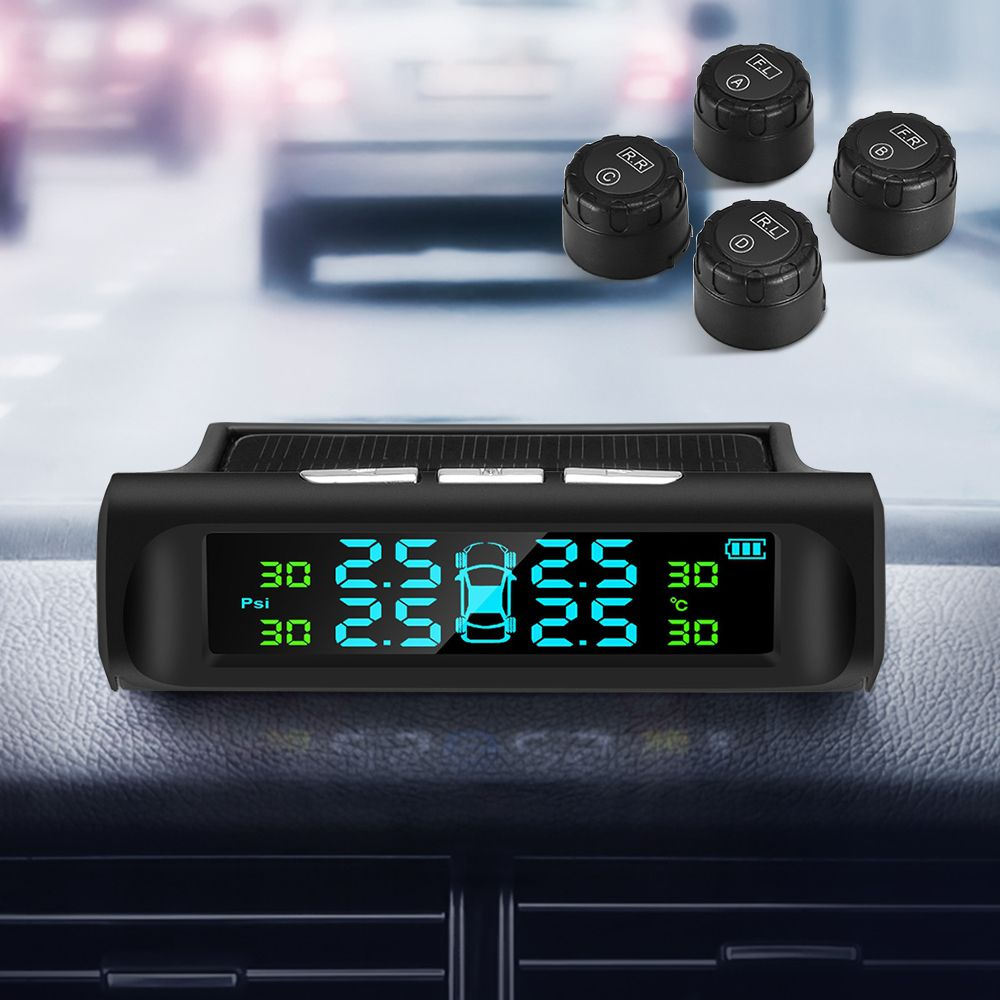 TPMS Tyre Pressure Monitoring System Solar Power with 4 External Sensors Digital Display Wide Application for Driving Safety Car