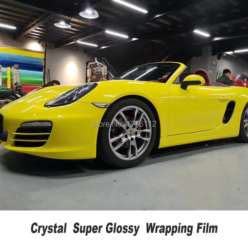 Höchste qualität Glossy Vinyl Wrap Auto Aufkleber Mit Blase Freies 1,52 m * 20 m/roll Fahrzeug Wrapping Folie low anfänglichen tack klebstoff