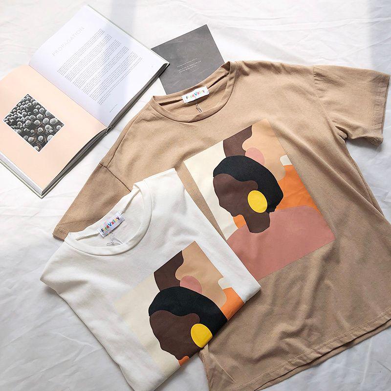Vintage peinture abstraite été femmes t-shirt à manches courtes Style coréen mince col rond t-shirt hauts