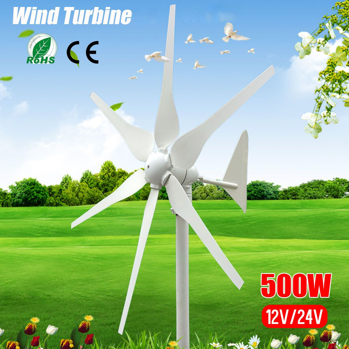 2018 DC 12V/24V 500W 6 Blades Miniature Wind Turbines Residential Home Wind Turbines Generator With Built in Controller for Home