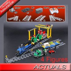 Lepin 02008 Kereta Kota Blok Bangunan Kereta Kargo Batu Bata Motor Listrik Daya Baterai Fungsi Kompatibel dengan LEGO 60052