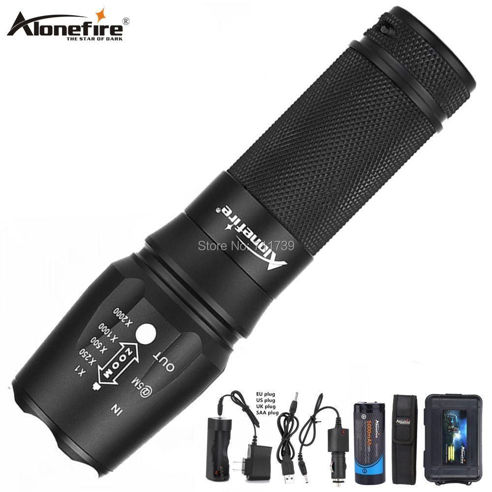 AloneFire X800 XM-L T6 L2 5000LM torche de lampe de poche LED CREE étanche en aluminium pour pile Rechargeable AAA 18650 26650