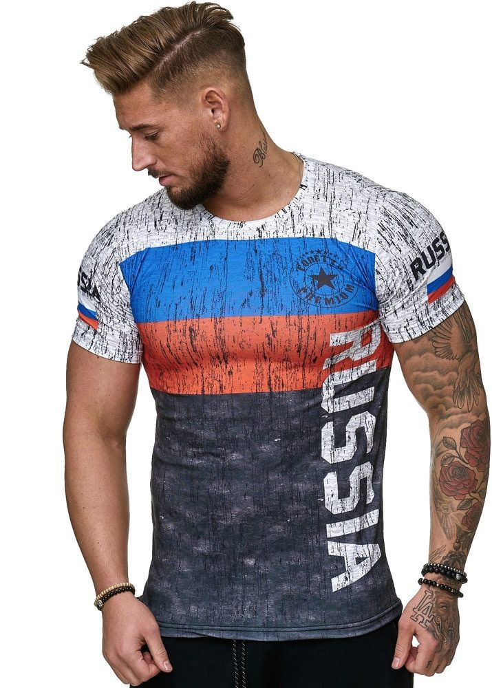 2019 Summer Russian flag men's casual fashion T-shirt round neck cool and lightweight man's T-shirt
