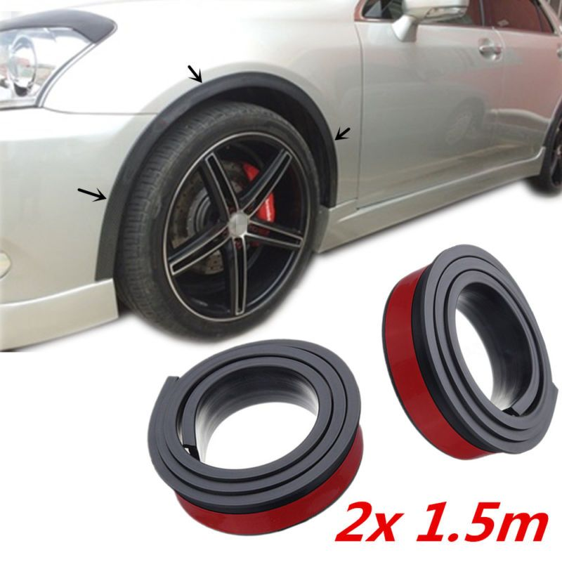 2pcs 1.5 m Universal Rubber Car Wheel Arch Protection Moldings Anti-collision Mudguard Car Wheel Protection Wheel Sticker