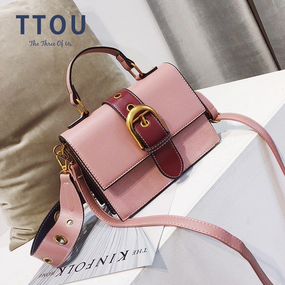 TTOU Female PU Leather Bag Hit Color Portable Shoulder Bag Women Fashion Crossbody Bag Panelled Messenger Bag