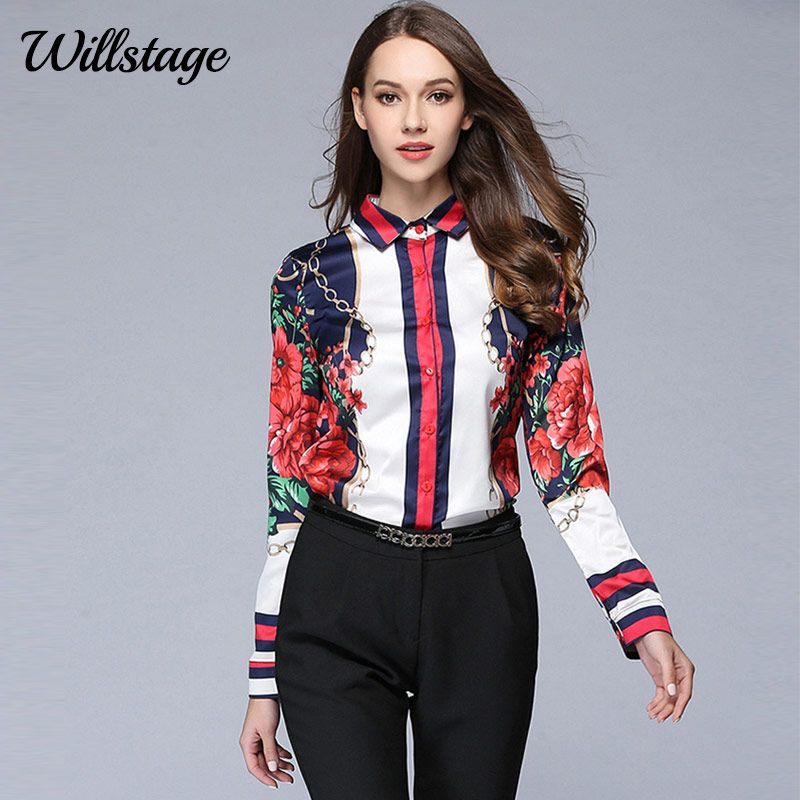 Willstage 2018 Spring Women Shirts Long Sleeve Floral <font><b>Star</b></font> Printed Blouse Chiffon Tops Office Ladies OL Work Wear Casual Blusas