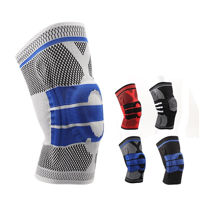 3D Weaving Silicone Knee Pads Supports Brace Volleyball Basketball Meniscus Patella Protectors Sports Safety Kneepads