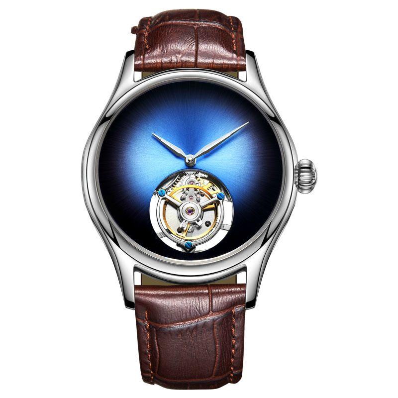 Angepasst Mechanische Uhr männer Top Marke Uhr Saphir Spiegel Original Tourbillon Hohl Bewegung Mechanische Mode Uhr