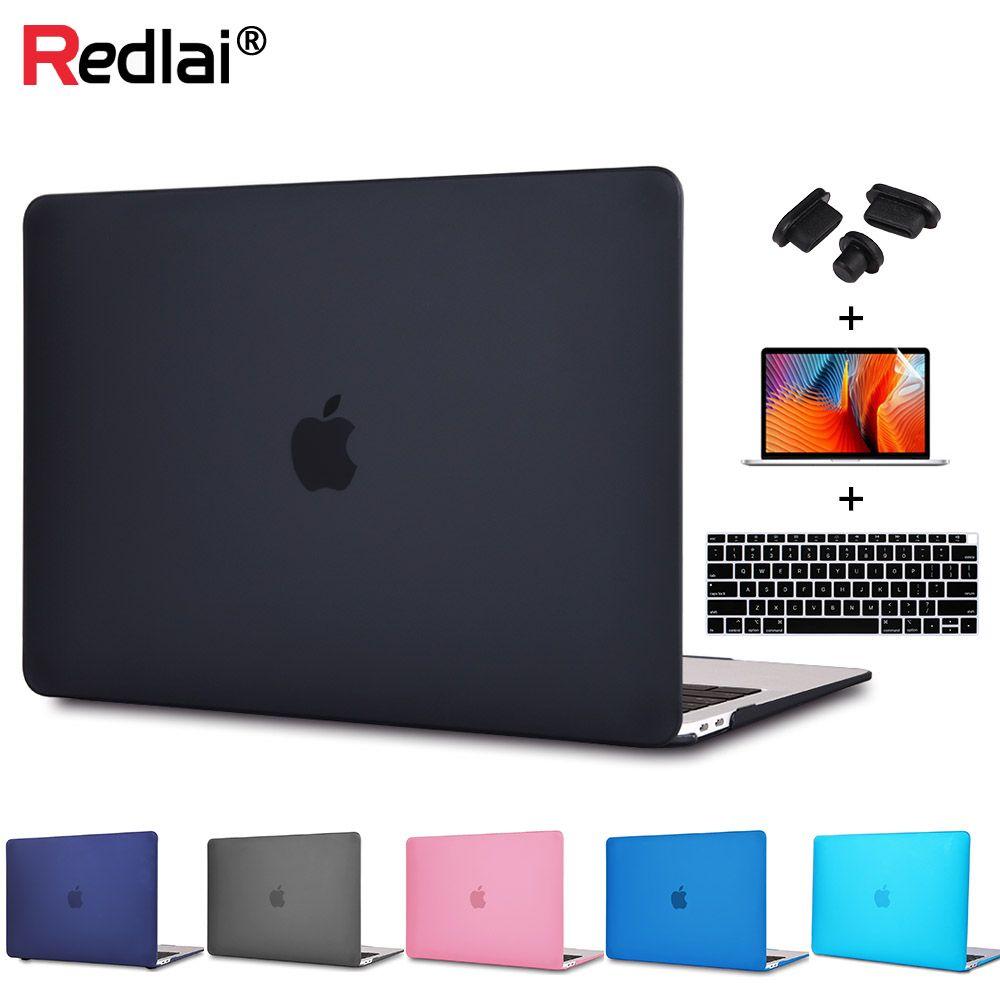 Redlai En Plastique Dur Cas Pour MacBook Air Pro Retina 12 13 15 Nouveau Pro 13 15 Tactile bar A1706 A1707 couvercle du clavier + Protecteur D'écran