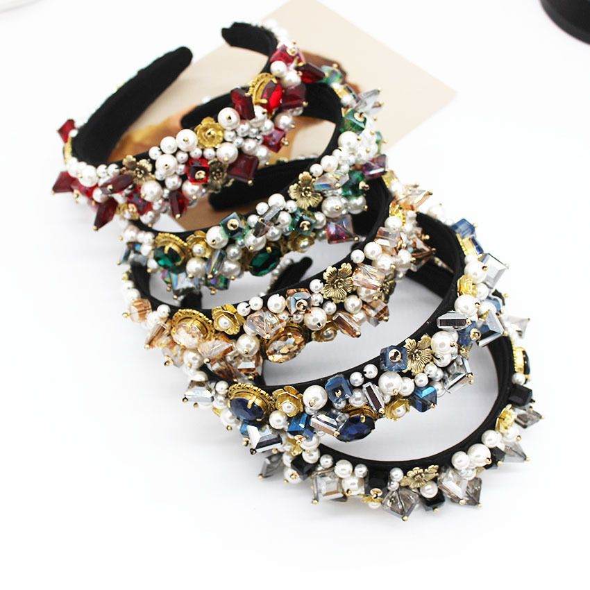 Jeweled Baroque Headband Women Wedding Bride Jewel Crystal Hairband Diamond Rhinestone Ladies Elegant Hair Accessories Headwear