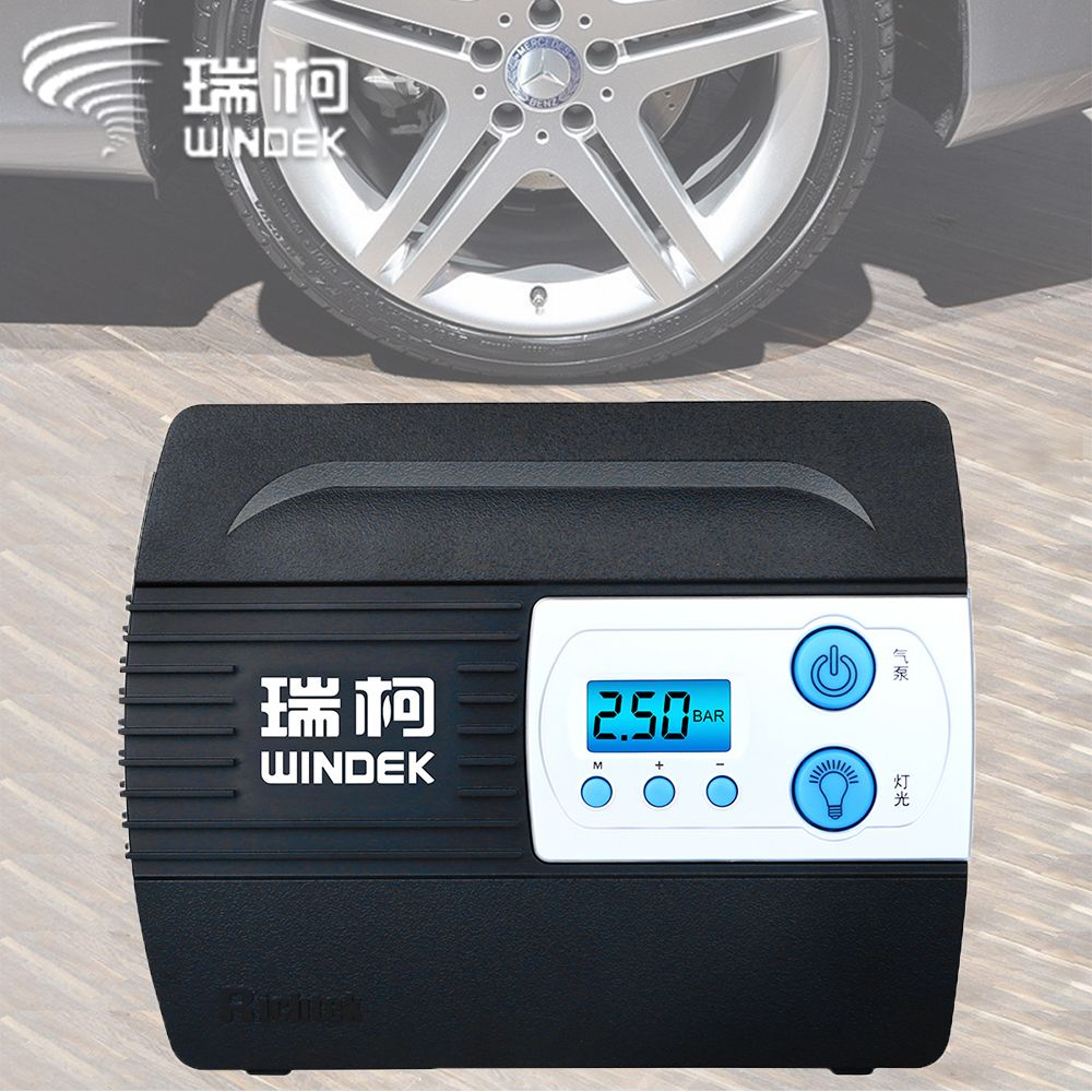 WINDEK Car Auto Air Compressor Tire Inflator Pump with Preset Tyre Pressure and Inflate Auto Stop Function for Tires 12V Digital