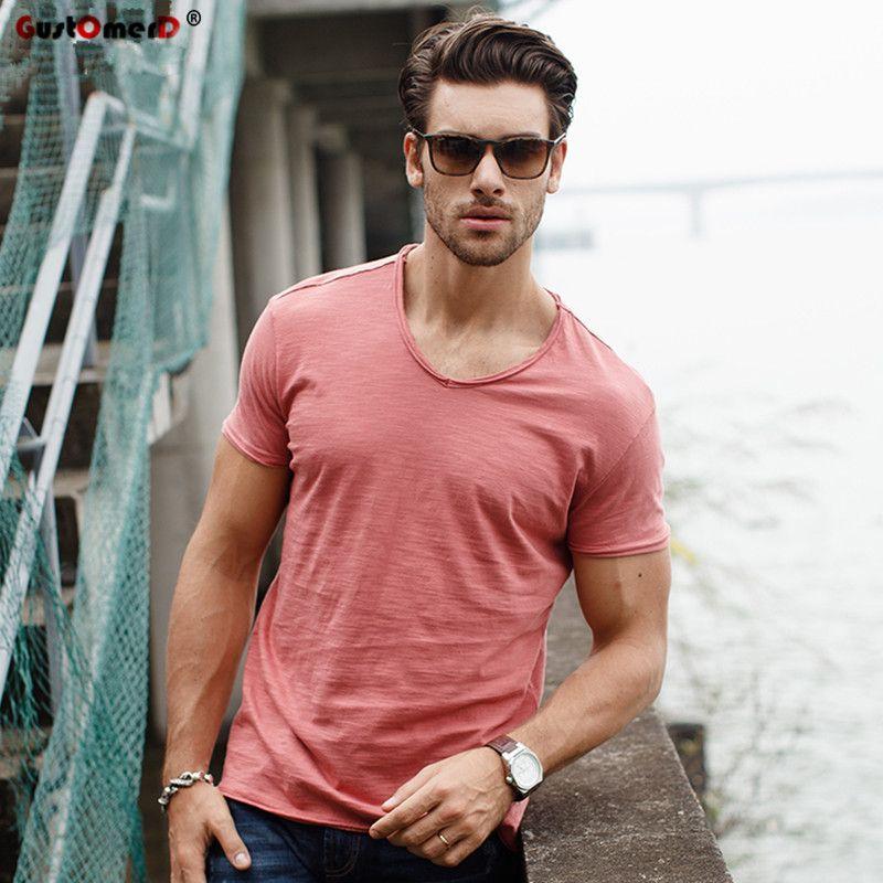 GustOmerD marque T-shirt hommes col en v coupe ajustée pur coton T-shirt mode à manches courtes T-shirt hommes hauts décontracté T-shirt M-XXL