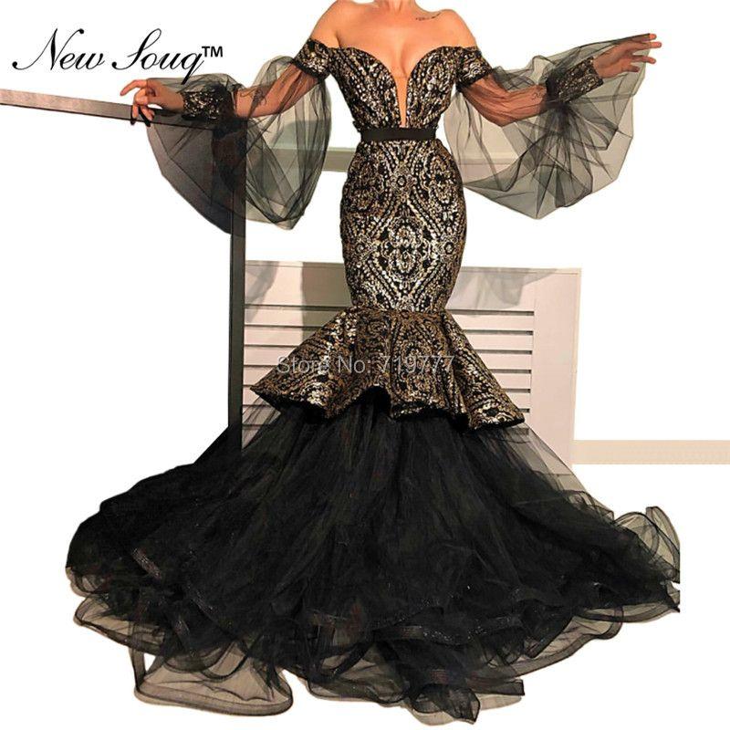 Arabisch Dubai Schwarz Abendkleid Frauen Formale Kleider Robe De Soiree 2019 Meerjungfrau Pageant Party Kleid Abendkleider Prom Kleider