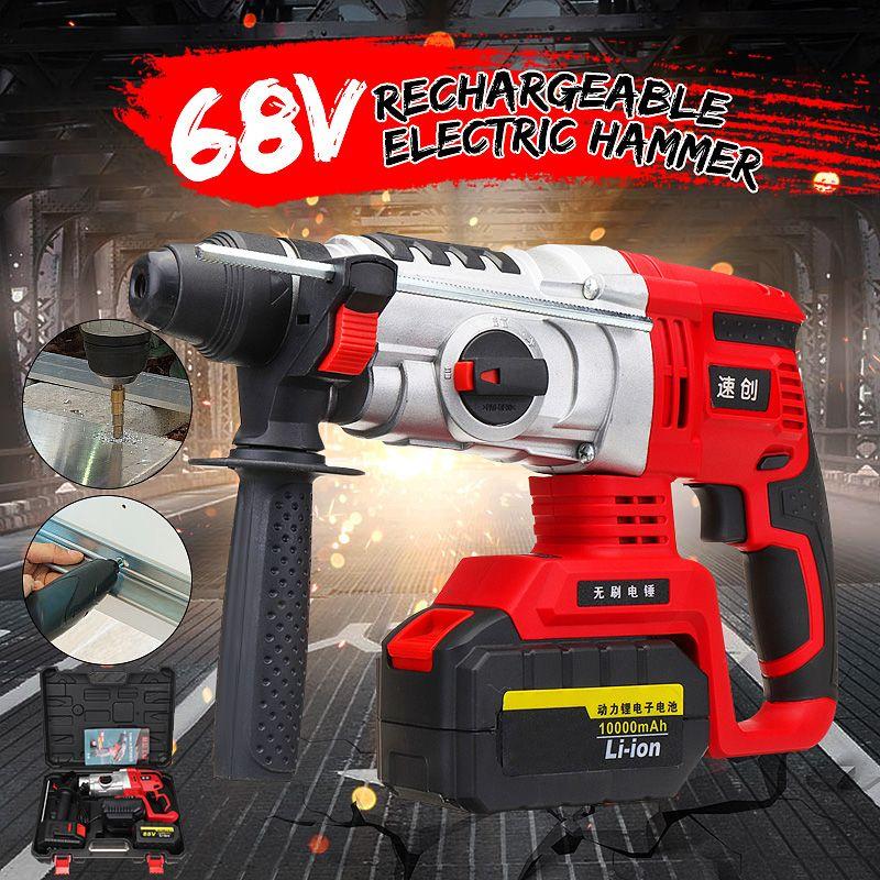 800 W Cordless Rotary Auswirkungen Hammer Multifunktionale 68 V Bohrer Schraubendreher Dreh Werkzeug mit Tragbare Tool Kit Box