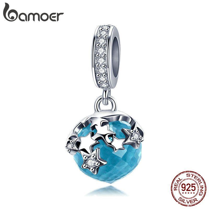 BAMOER Hohe Qualität 925 Sterling Silber Dazzling Star Blau Kristall Anhänger Charms Fit Charme Armbänder Schmuck, Der BSC029