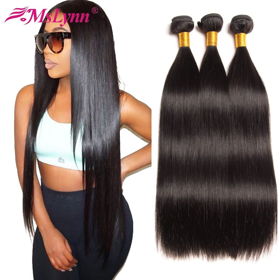 Straight Hair Bundles Brazilian Hair Weave Bundles <font><b>Human</b></font> Hair Bundles 4 or 3 Bundles Non Remy Hair Extensions Natural Black