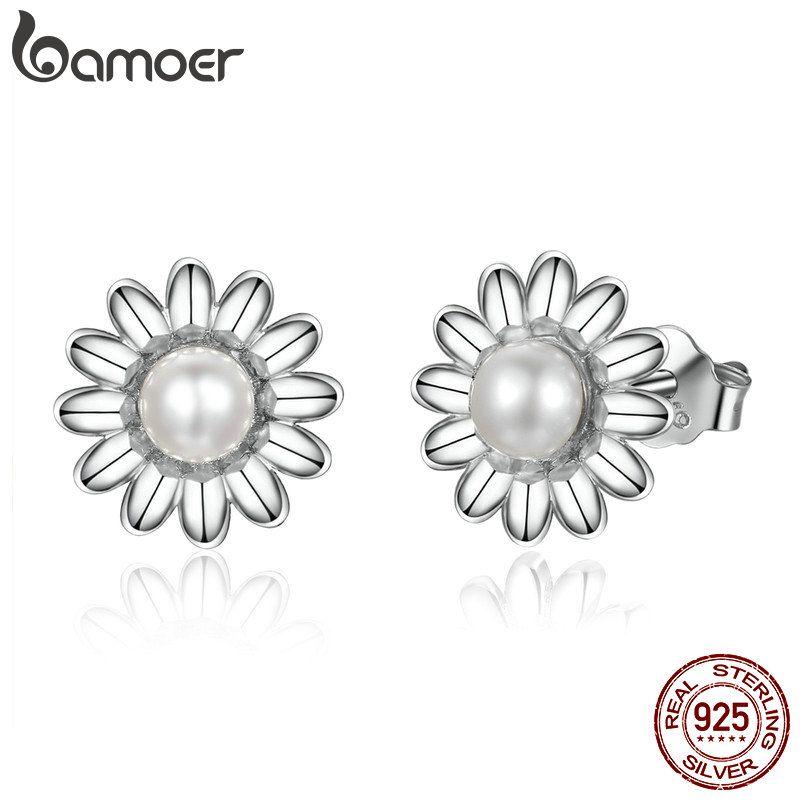 BAMOER Neue Ankunft 925 Sterling Silber Daisy Blume Süßwasser Perle Stud Ohrringe für Frauen Sterling Silber Schmuck Geschenk BSE020