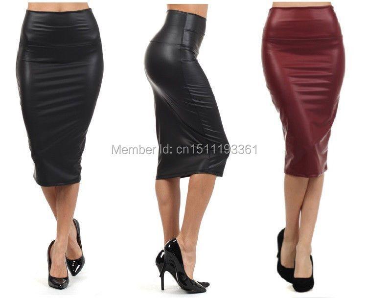 Livraison gratuite femmes bureau jupe taille haute faux cuir jupe crayon noir sexy élastique sous le genou jupe 10 couleurs XS/S/M/L/XL