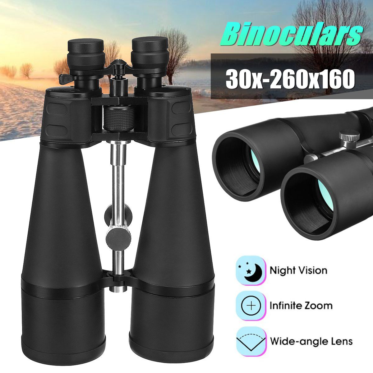 Optical Green Lens Binoculars 30x-260x160 High Magnification Long Range Zoom Objective Diameter 160mm+lens Cloth