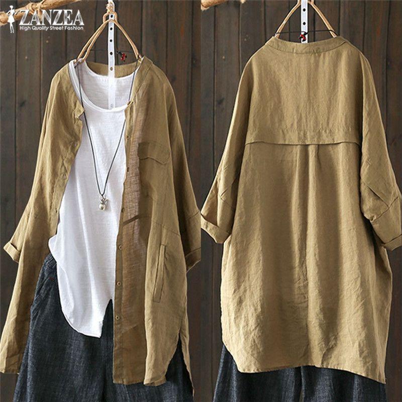 Grande taille tops tuniques femmes Chemisier Boutonné Chemises 2019 ZANZEA Mode Manches Longues Cardigans Patchwork décontracté Blusas Top 5XL