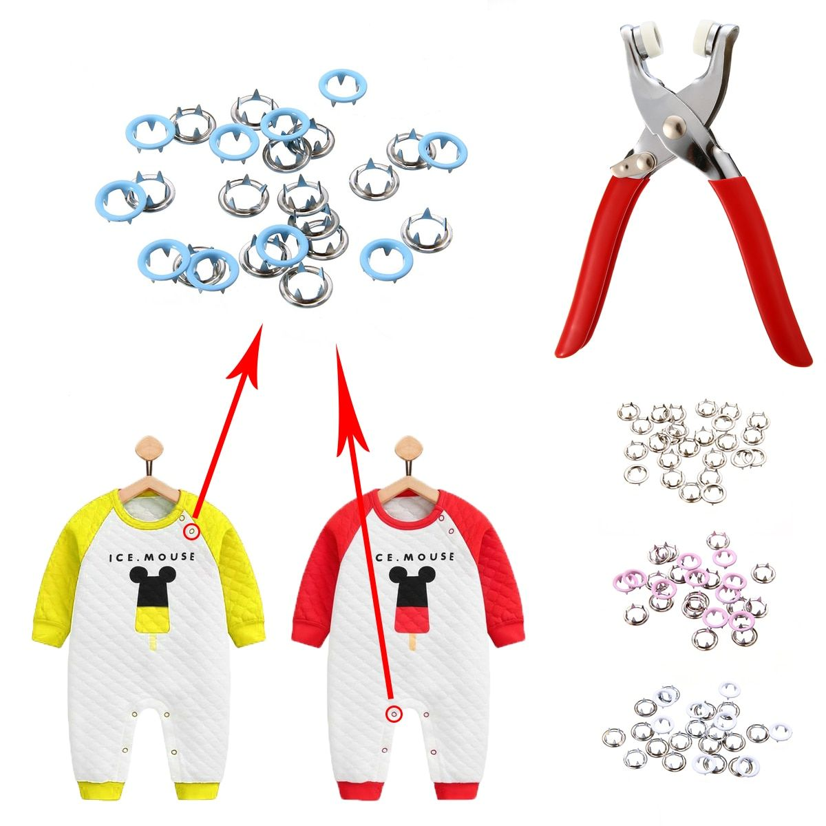 1pc Plier Tool+200pcs 9.5mm Metal Prong Snap Buttons Mayitr Fasteners Press Studs Popper Baby Romper Buckle Snap+2pcs Rubber